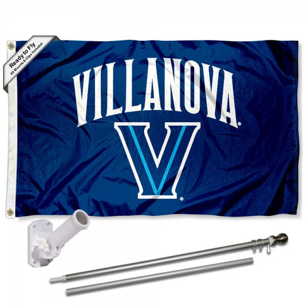 Villanova Wildcats Flag and Bracket Flagpole Set