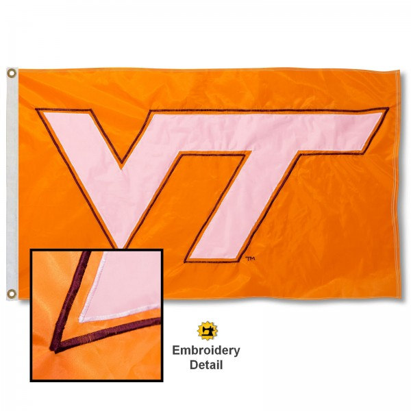 Virginia Tech Hokies Appliqued Sewn Nylon Orange Flag