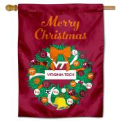 Virginia Tech Hokies Christmas Holiday House Flag