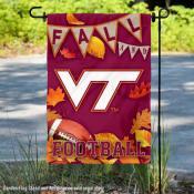 Virginia Tech Hokies Fall Leaves Football Double Sided Garden Banner