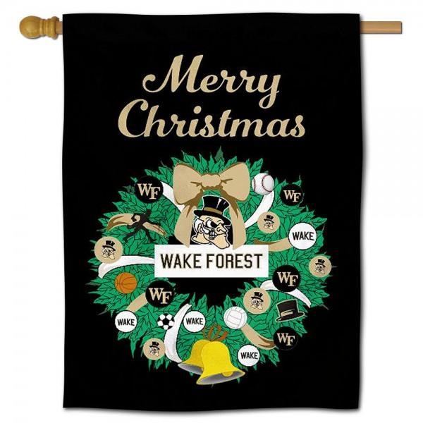 Wake Forest Demon Deacons Christmas Holiday House Flag