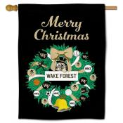 Wake Forest Demon Deacons Christmas Holiday House Flag