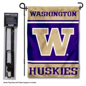 Washington Huskies Garden Flag and Holder