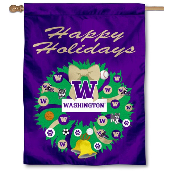 Washington Huskies Holiday House Flag