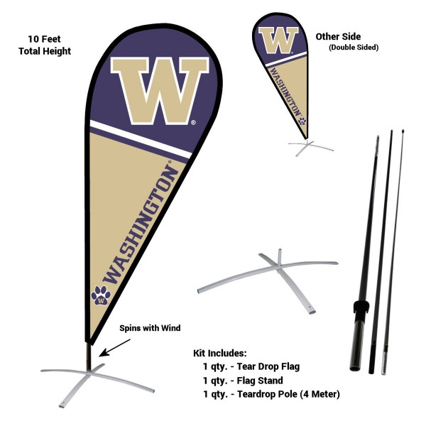 Washington Huskies Teardrop Flag and Stand Kit
