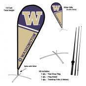 Washington Huskies Teardrop Flag and Stand Kit