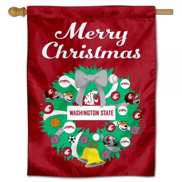 Washington State Cougars Holiday House Flag