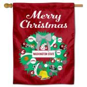 Washington State Cougars Holiday House Flag