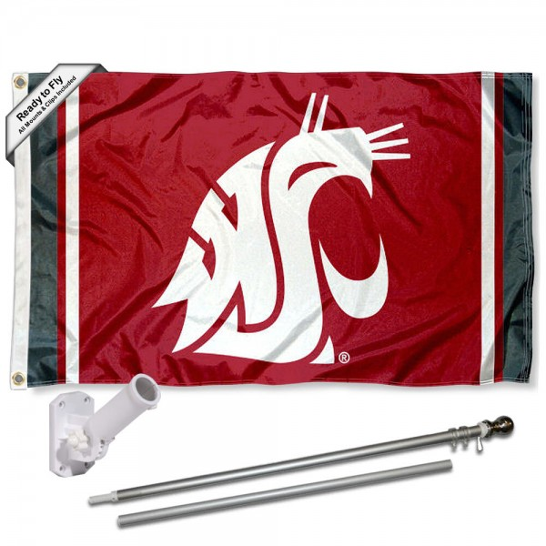 Washington State WSU Flag and Bracket Flagpole Kit