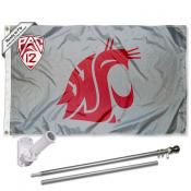 Washington State WSU Pac 12 Flag and Bracket Flagpole Kit