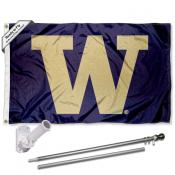 Washington UW Huskies Big W Flag and Bracket Flagpole Kit
