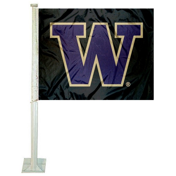 Washington UW Huskies Black Car Flag
