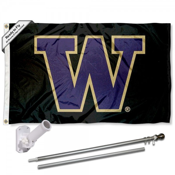 Washington UW Huskies Flag and Bracket Flagpole Kit