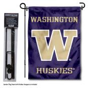Washington UW Huskies Garden Flag and Holder