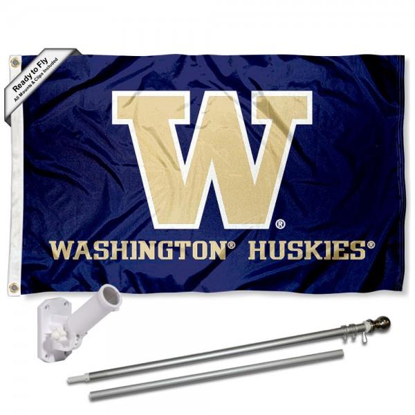 Washington UW Huskies Purple Flag and Bracket Flagpole Kit