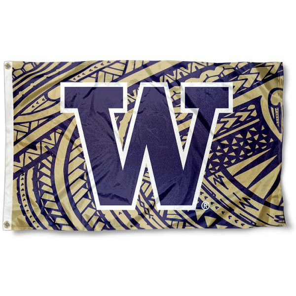 Washington UW Huskies Samoan Pattern Flag