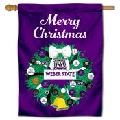 Weber State Wildcats Christmas Holiday House Flag