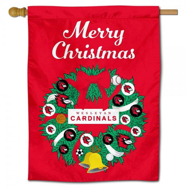 Wesleyan Cardinals Christmas Holiday House Flag