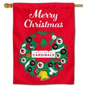Wesleyan Cardinals Christmas Holiday House Flag
