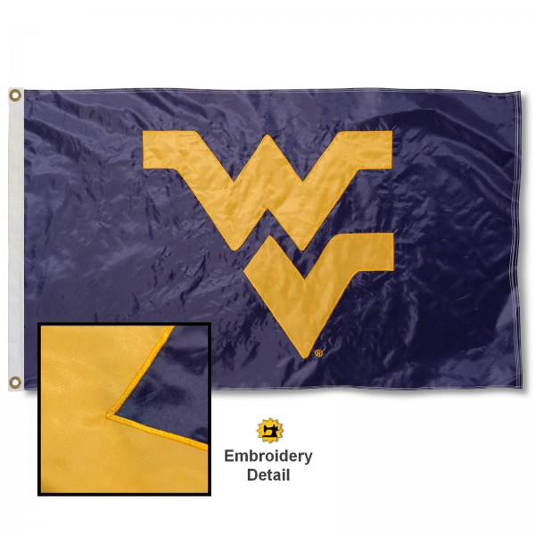 West Virginia Mountaineers Appliqued Sewn Nylon Blue Flag