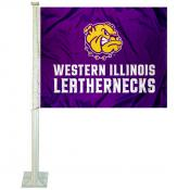 Western Illinois Leathernecks Car Flag