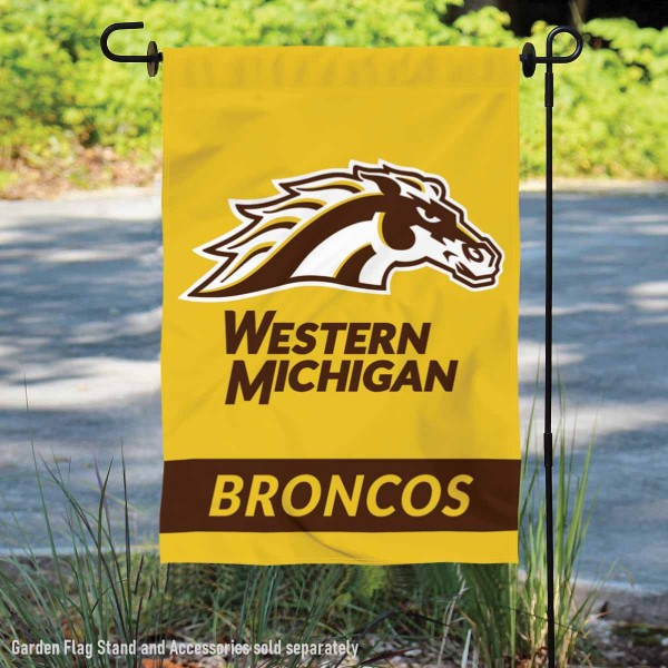 Western Michigan University Broncos Gold Double Sided Garden Flag