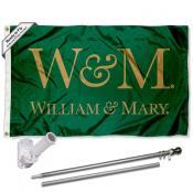 William & Mary Tribe Flag and Bracket Flagpole Kit