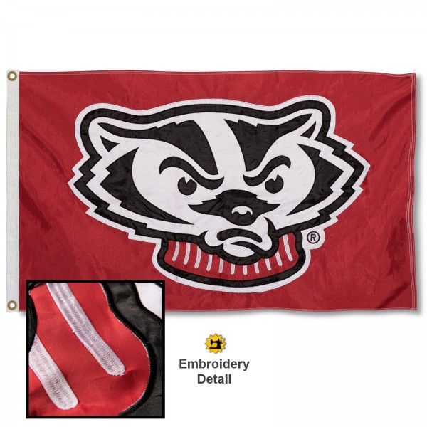 Wisconsin Badgers Appliqued Nylon Flag