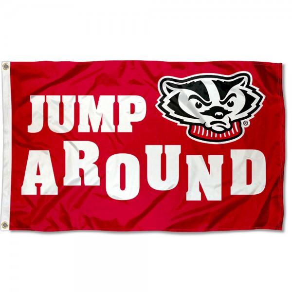 Wisconsin Badgers Jump Around Flag