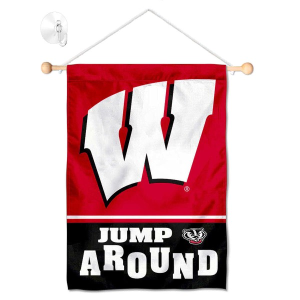 Wisconsin Badgers Jump Around Small Wall and Window Banner