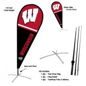 Wisconsin Badgers Teardrop Flag and Stand Kit
