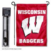 Wisconsin Badgers W Garden Flag and Holder