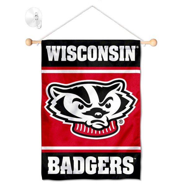 Wisconsin Badgers Window Hanging Banner with Suction Cup