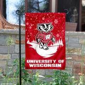 Wisconsin Badgers Winter Scene Garden Banner