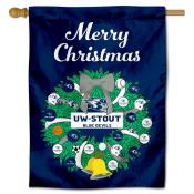 Wisconsin Stout Blue Devils Christmas Holiday House Flag