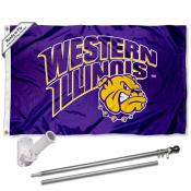 WIU Leathernecks Flag and Bracket Mount Flagpole Set