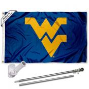 WVU Mountaineers Blue Flag and Bracket Flagpole Kit