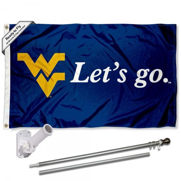 WVU Mountaineers Flag and Bracket Flagpole Kit