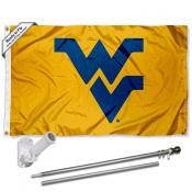 WVU Mountaineers Gold Flag and Bracket Flagpole Set