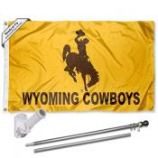 Wyoming Cowboys Flag and Bracket Flagpole Set