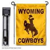 Wyoming Cowboys Garden Flag and Holder