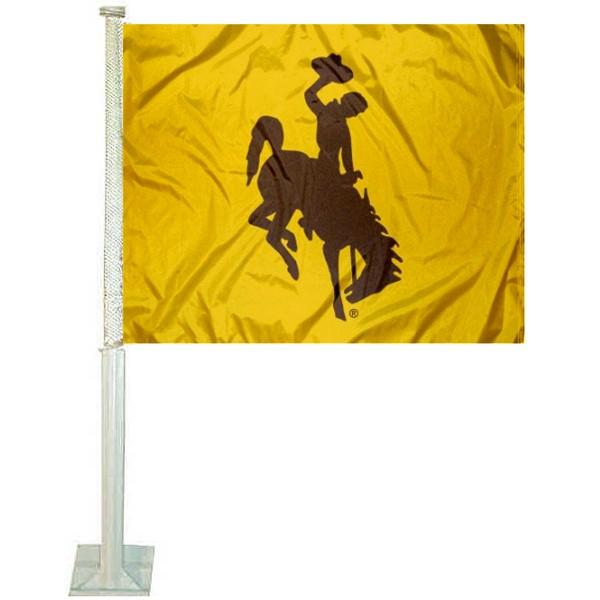 Wyoming Cowboys Gold Car Flag