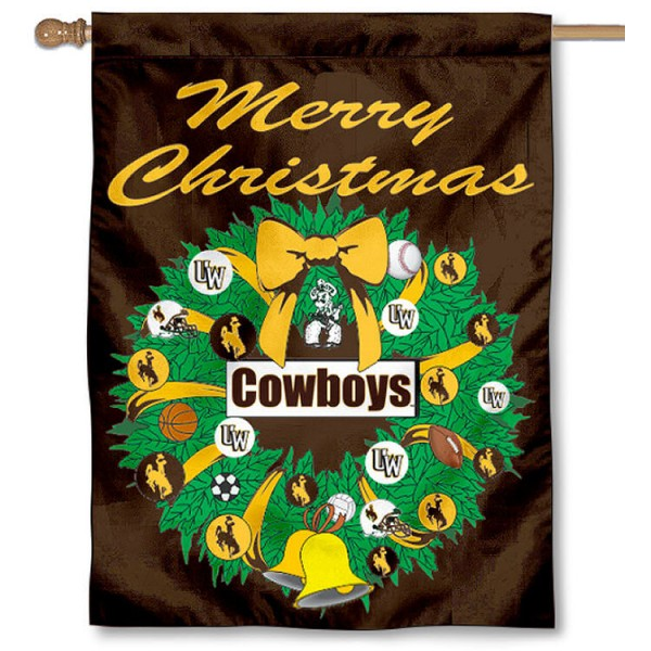 Wyoming Cowboys Holiday Flag