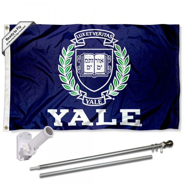 Yale University Flag and Bracket Flagpole Kit
