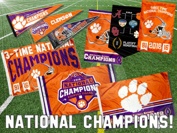 Clemson National Champions Flags and Banners