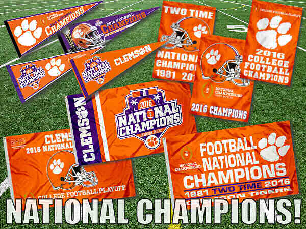 Clemson Tigers National Champions Flags and Banners
