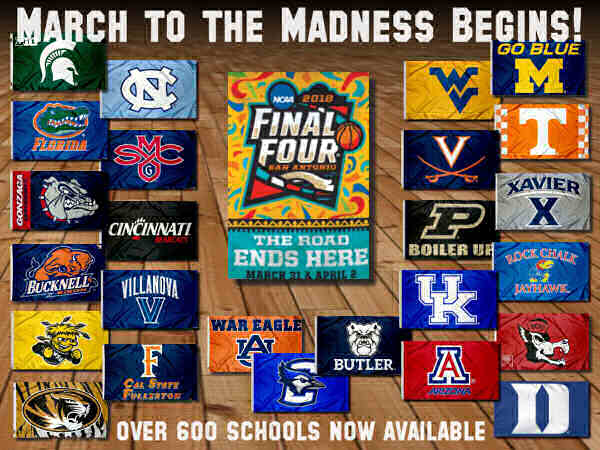 College Basketball Flags and Banners