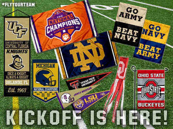 College Football Kickoff Flags and Banners