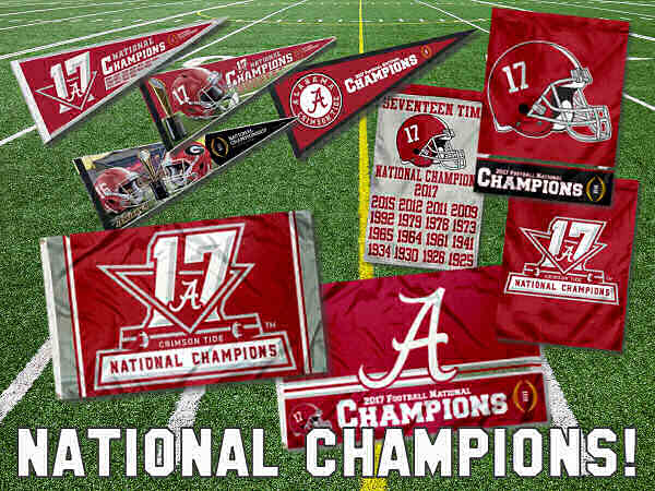 Alabama Crimson Tide Nationals Champions Flags and Banners