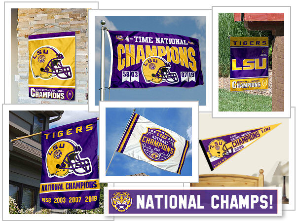 LSU National National Champions Flags and Banners